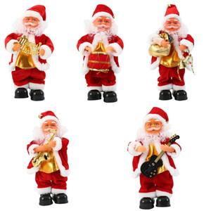 Elétrica Papai Noel Xmas Cantando Dança Saxofone Boneca Toy Crianças presente de Ano Novo Início Ornamento desktop