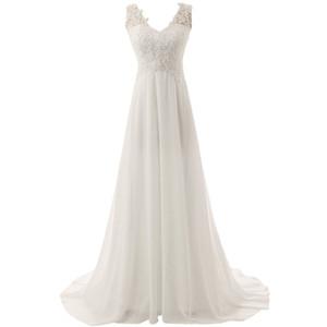 Einfache V-Ausschnitt A-Linie preiswerte Brautkleider unter 100 SpitzeAppliques Pailletten Chiffon Brautkleid Covered Buttons Weinlese Brautkleider