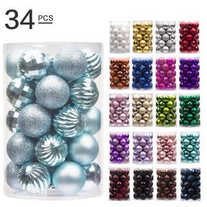 34PCS Рождественские шары Ёлочные украшения Xmas украшения 4CM Рождество Декор Бал Новогодние подарки