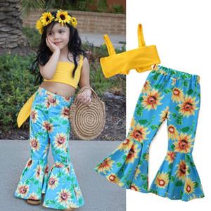 Kids Designer Clothes Girls Bandage Tops Flower Pants 2pcs Sets Sunflower Children Outfits Summer Kids Clothing 3 Designs DW4263