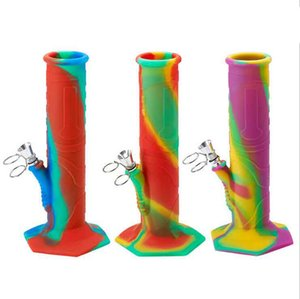 Silicone bong with metal downstem Diffuse coloured Portable foldable Smoking Water pipe Oil Rig Hookahs 350mm 230mm 2 Styles Choose