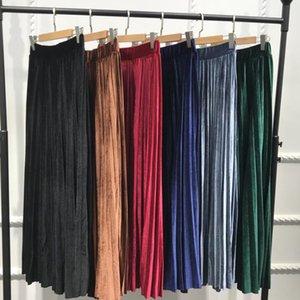 Islamic Pleated Velvet Skirt Women Skirts Women's Clothing Black Green Elegant Long Warm High Waist Skirts Plus Size Casual Muslim Pleated S