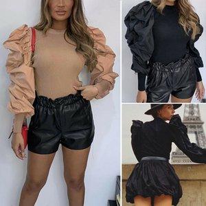 Mode-Herbst-Frauen-Hauch-Hülsen-Bodysuit Herbst Solid Color Langarm Rundkragen dünne elegante Bodysuits