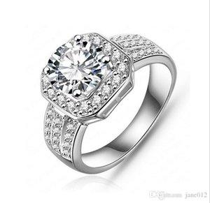 Новые тенденции Кольца Медь Белое золото / розовое золото покрыло с фианитами Side Stone Настройки Обручальное кольцо для Женщины