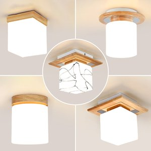 Modern LED Round Ceiling Light Fixtures for Living Room Bedroom Wood Glass Iron Home Loft Decor Square Ceiling Lamp Lights Room - I74
