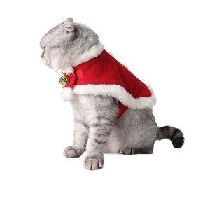 Pet Cat Shawl Cloak Collar Plush Warm Bell Cute Christmas Gift Winter Clothes Supply UYT Shop
