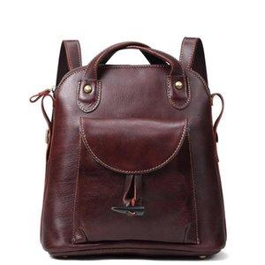 Pop2019 прибытие женщины рюкзак 100% натуральная кожа дамы дорожные сумки высокое качество опрятный стиль школьные сумки для девочек / женские подарки