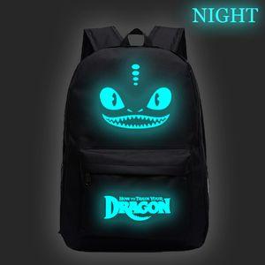 Dark Backpack Train to Dragon في حار بيع الرجال النساء الفتيات توهج حقيبة الظهر مضيئة أزياء اليومية الأولاد المدرسة الخاص بك كيف kbghc
