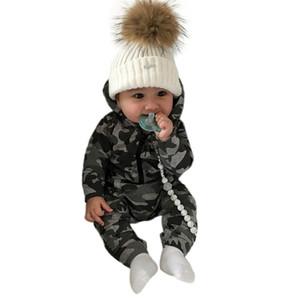 Arloneet Säuglingsbaby-Mädchen-Tarnungs-Druck-mit Kapuze Spielanzug-Overall-Kleidungs-Ausstattungs-Spielanzug-Baby-neues geborenes Baby kleidet S # MX190720