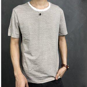 mens designershort-sleeved striped round collar ins fashionable T-shirt