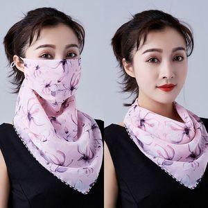 Women Reusable Face Masks flower Printed sunshade cycling sunscreen triangle Women Scarf Bandanas Chiffon Outdoor Sunshade Masks KKA7823