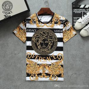 Sommer-Mode für Männer Schönheit dusa retro Farbe 3D-HD Digitaldruck Schlanke Kurzarm-T-Shirt, Italienisch Buchstaben direkt Spray Druck roun016