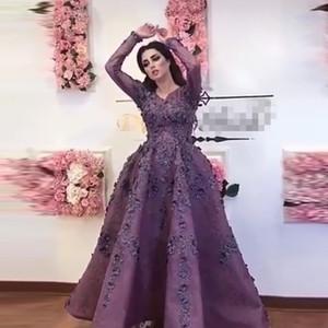 Saudi Arabisch Lila 3D Blume Abendkleider Mit Vollen Ärmeln Spitze Floral Prom Kleider Knöchellangen Abendkleid Vestidos