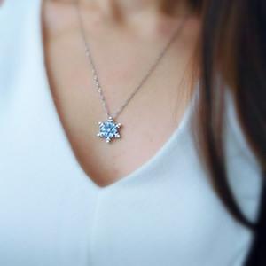 Замороженный натуральный драгоценный камень ожерелье из серебристого циркона кристалл снежинки ожерелье рождественский подарок кулон