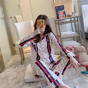 Verão / Outono 's Mulheres Sleepwears Concise Estilo manga comprida Camisa de noite por Mulheres respirável de alta qualidade Silk Pajamas