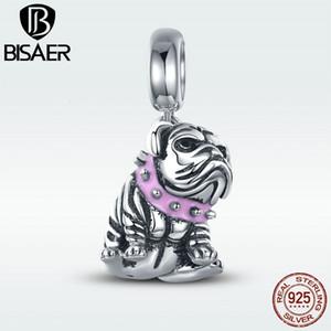 Auténtica 100% de plata esterlina 925 linda inglés Animal encantos del grano pendiente de Bulldog francés original apto pulsera de la joyería que hace CJ191116