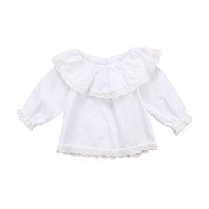 Newborn Baby Girls Lace Off-Shoulder Long Sleeve Blouses White Brief Autumn Kids Infant Clothes