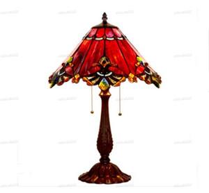 Vitray Masa Lambası Barok Avrupa Tarzı Başucu Abajur Vintage Retro Salon Başucu Işık Fikstür Lambalar LLFA