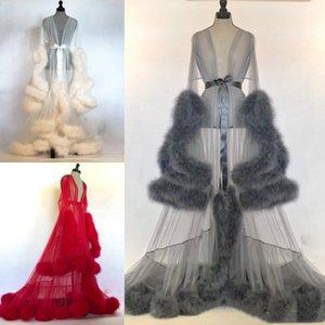 NEW зимы женщин Sexy Lady искусственного меха пижамы женщин Халат Sheer Nightgown Красный Белый Серый Мантия выпускного вечера невесты Шавель сексуальное платье