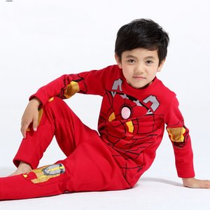 Free Shipping New Pajamas Baby & Kids Clothing kids planes Iron man homewear set boys long sleeve spring autumn sleepwear clothing baby love