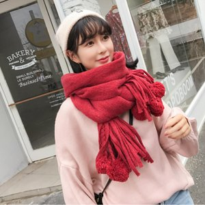 Womens Long Thick Waffle Ball Tassled Monochrome Knitted New Fashion Student Scarf