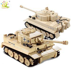 Huiqibao 995pcs Militaire Allemand Roi Tigre Tank Blocs de Construction Legoingly Army Ww2 Soldat Figure Arme Brique Enfants Garçon JouetsMX190820