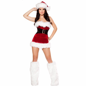 New Santa Claus Tube top Dress clothing Christmas party costume Christmas outfit with foot cover