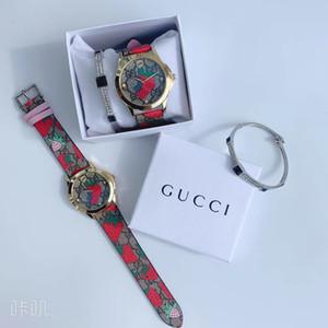 2020 Рождественский подарок клубника мода циферблат Мужчины Женщины 38 мм красочные кожаные роскошные кварцевые подарочные часы мужские часы Леди Relogio Montre с коробкой