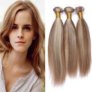 #8  613 Piano Mixed Color Malaysian Straight Human Hair Bundles 3pcs Brown And Blonde Mix Piano Color Virgin Human Hair Weaves Extensions