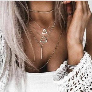 Bohemian Multilayer Triangle Stick Pendant Chokers Necklaces Multi Layer Silver Alloy Pendant Necklace Collar for Women Party Dress Jewelry