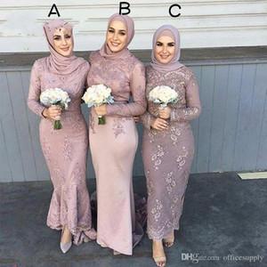 Длинные рукава арабских мусульманских подружек платья невесты с кружевной аппликацией Hijab