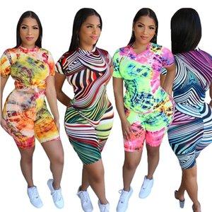 Tie Dye Drucken Tracksuits Desinger Frauen Zweiteilige Shorts Set 2020 Summer Sports Anzüge Kurzarm T-Shirt und Shorts Sportkleidung S-2XL