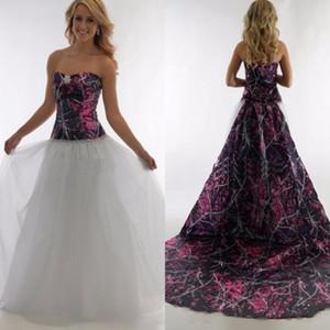 Sweetheart une ligne camo boueux robes de mariée fille avec détachable train 2020 camouflage personnalisé Plus la taille robes de mariée réel arbre campagne
