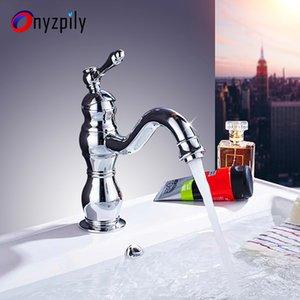 Onyzpily lavabo del cromo de oro mezclador Grifería sola manija orificio de cubierta montada Coldhot agua astilla Tap torneira