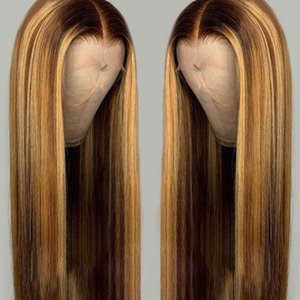 PAFF lungo stragiht Ombre Evidenziare invisibile Colore parte anteriore del merletto umani parrucche capelli per le donne brasiliano Remy parrucca Nodi candeggiati
