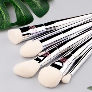Belleza en vivo totalmente Profesional 9 Unids Set de Pinceles de Maquillaje Silver Chrome Make Up Eye Face Brush Kit con opp bag