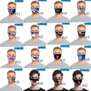 36styles de la bandera de Estados Unidos en 3D Máscara de América Día de la Independencia de la mascarilla máscaras a prueba de polvo lavable 2020 Boca cubierta protectora Manera GGA3511-6