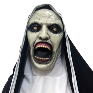 Rahibe Korku Maskesi Cadılar Bayramı Cosplay Valak Korkunç Maskeleri Lateks Tam Yüz Kask Demon Cadılar Bayramı Partisi Kostüm ...