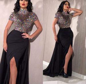 Pırıltılı Renkli Elmaslar Abiye Siyah Yüksek Boyun Uyluk Yüksek Yarık Lüks Bling Bling Prom Parti Elbise Özel Boyut
