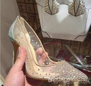 Red Bottoms Follies Strass Sneakers Pointed Toe Studded Spikes Rivets Crystals Women Wedding Shoes Lady High-Heel Shoe