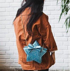 Baby-Pailletten Umhängetasche fünfzackigen Stern-Geldbeutel Kinder Penta Messenger Bag reizende Prinzessin Bowknot-Geldbörsen 8colors FJ867