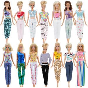 4pcs / Lot Moda Mix Stil Kıyafetler Günlük Rahat kıyafet Çiçek Baskı Pantolon Giyim Tops Barbie Bebek 12 '' Aksesuar Hediye için