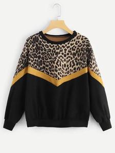 Die Hoodies der Art- und Weisefrauen beiläufige lange Hülsen-Patchwork-Leopard-Druck-Oansatz übersteigt Sweatshirt harajuku Hoodie Frauen sudaderas mujer