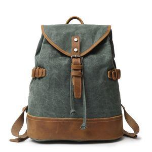 M292 New Canvas Leather Backpacks for Men Vintage Waterproof Laptop Daypacks Teenagers Travel School Bags Rucksacks