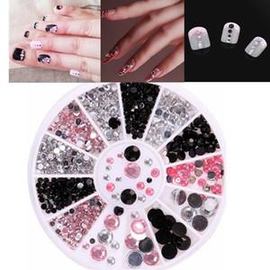 Herramienta de la manicura diamantes de imitación 1 Caja de tres colores Taladro Mixta 3D del clavo de la rueda de acrílico vinilo decorativo DIY las extremidades del arte joyería