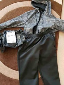 Del diseñador del Mens chándal Marca traje a rayas con capucha chándal manera del estilo de la cremallera de la marca chaquetas del suéter de las tapas + pantalones Trajes Joggers