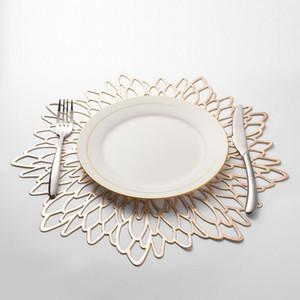 38 * 38cm di plastica in PVC Placemat per Dining Table Hollow Pad Pad Tabella Bowl MatsSilver / oro