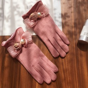 20190909 Touch screen gloves, five-fingered flowers, bow and finger parting
