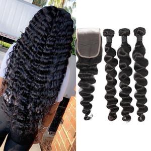 Бразильская Свободная глубокая Волна 3 пучка с закрытием Свободная средняя 3 часть двойной уток наращивание человеческих волос окрашиваемые человеческие волосы 100 грамм пучки