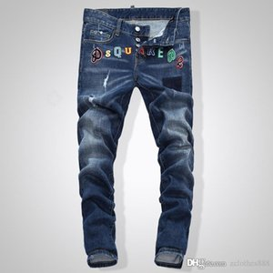 Mens Distressed Ripped Blue Jeans robin Fashion Designer Slim Fit Washed Denim Pantalons Motocycle lambrissé Hip Hop biker jeans1046